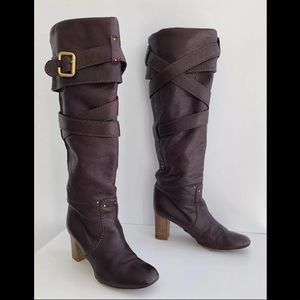 CHLOE PADDINGTON BROWN PEBBLE LEATHER BOOTS 37.5